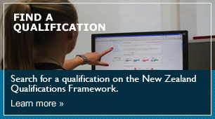 Image of a student pointing to a page on a website  with a link to Find A Qualification Find a Qualification